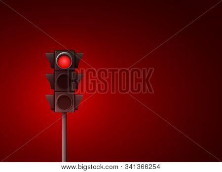 Red Traffic Light Vector Background. Signal Stoplight Road Warning Lamp