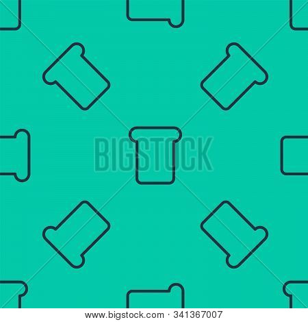 Blue Line Bread Toast For Sandwich Piece Of Roasted Crouton Icon Isolated Seamless Pattern On Green