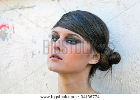Caucasian Girl Portrait With Makeup