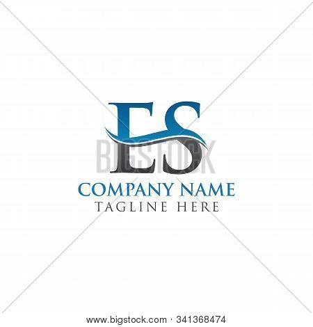 Initial Es Letter Linked Logo Business Vector Template. Water Wave Es Logo Design