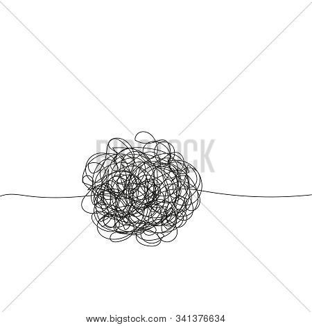 Abstract Scribble, Chaos Doodle Line. Hand Drawing Insane Tangled Scribble Clew. Vector Icon Isolate