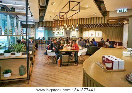 HONG KONG, CHINA - CIRCA JANUARY, 2019: interior shot of Pret a Manger in Elements shopping mall. Pret a Manger is an international sandwich shop chain.