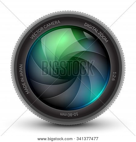 Camera Shutter Photo Focus Isolated Design Lens Flare. Shutter Zoom Phtotography Camera