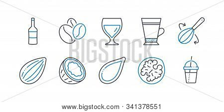 Set Of Food And Drink Icons, Such As Walnut, Wine, Almond Nut, Coffee Beans, Cooking Whisk, Coconut,
