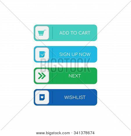 Web Buttons Flat Design. Web And Ui Application Color Button Icon For Modern Website. Buttons Set Wi