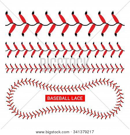 Baseball Red Lace Seam Thread. Base Ball Vector Illustration Lace Stitch