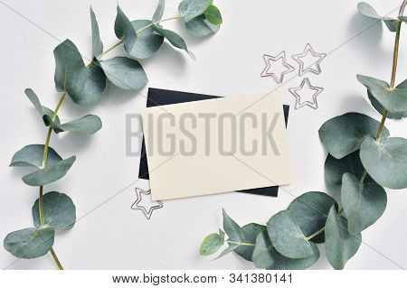 Mock Up Of Eucalyptus Leaves And Decor Of Stars Paper Clip With Place For Text On White Background.