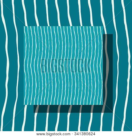 Seamless Pattern With Light Wavy Lines Made By Hand With Ink And Brush. Teal And White Colors. Repea