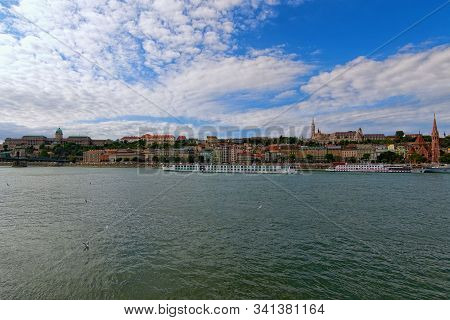 Panoramic View Of Picturesque Danube River And Buda Side With Fisher Bastion And Buda Castle (royal