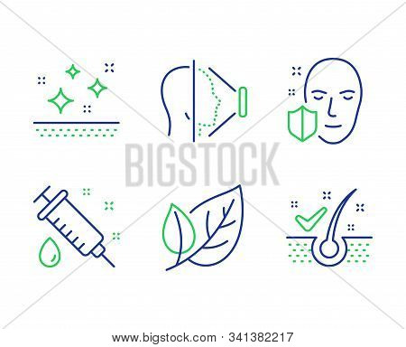 Medical Syringe, Leaf And Face Id Line Icons Set. Clean Skin, Face Protection And Anti-dandruff Flak