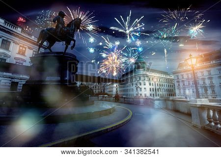 Celebrate Abstract Holidays In Vienna, Austria, Europe. Christmas Or New Year Fireworks At Night. Co