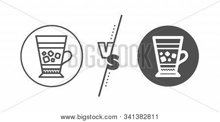 Cold Drink Sign. Versus Concept. Frappe Coffee Icon. Beverage Symbol. Line Vs Classic Frappe Icon. V