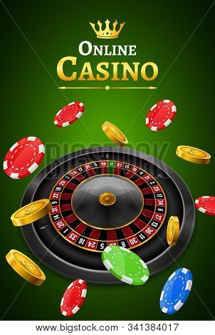 Casino Roulette With Chips, Coins And Red Dice Realistic Gambling Poster Banner. Casino Vegas Fortun