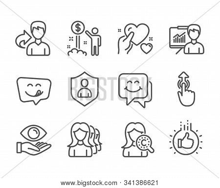 Set Of People Icons, Such As Smile Face, Yummy Smile, Like Hand, Income Money, Health Eye, Swipe Up,