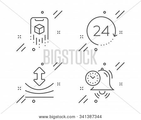 Resilience, Augmented Reality And 24 Hours Line Icons Set. Time Management Sign. Elastic, Phone Simu