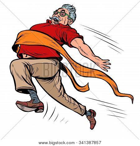 Old Man Grandpa Runs Finish Line, Win. Pop Art Retro Vector Illustration Kitsch Vintage Drawing