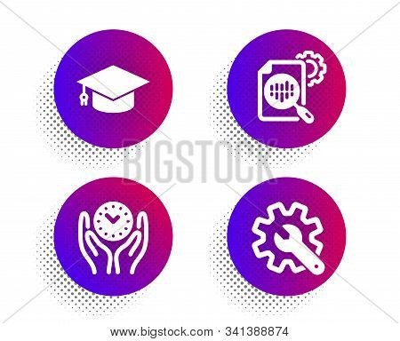 Seo Stats, Graduation Cap And Safe Time Icons Simple Set. Halftone Dots Button. Customisation Sign.