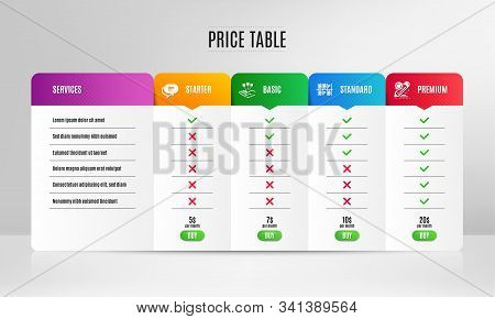 Text Message, Consolidation And Parking Place Icons Simple Set. Pricing Table, Price List. Project E