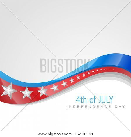 stylish american independence day wave art poster