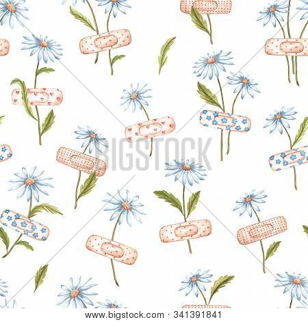 Cute Seamless Floral Pattern. Daisies Glued With A Band-aid. Hand-drawn Watercolor Flowers. Cartoon
