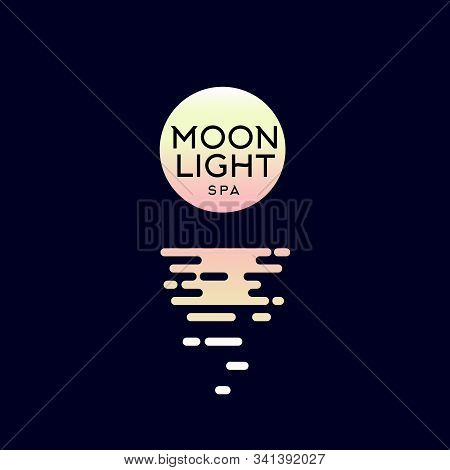 Moonlight Spa Logo. Hotel Spa Emblems. The Moon And Reflection In The Water.