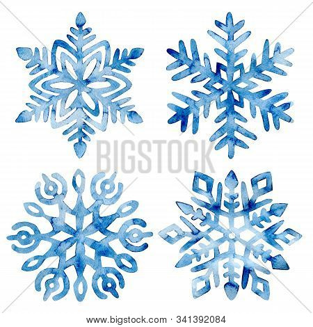 Set Of Watercolor Snowflakes. Frost Crystals Drawn On Paper By Hand. New Year And Christmas Card.