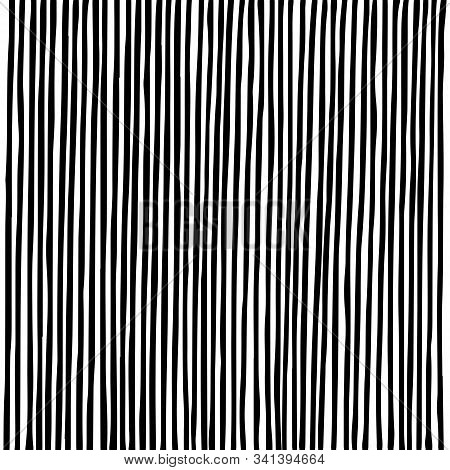 Hand Drawn Vertical Parallel Dense Black Lines On White Background. Straight Lines Sketch For Graphi