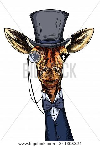 Elegant Giraffe Dressed In Suit, Monocle And Hat