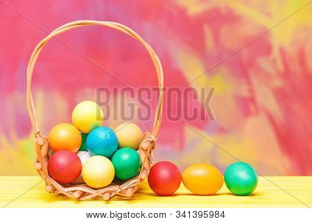 Colorful Eggs In Basket. Healthy And Happy Holiday. Painted Eggs In Egg Tray. Happy Easter. Egg Hunt