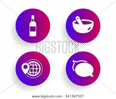 Brandy Bottle, World Travel And Cooking Mix Icons Simple Set. Halftone Dots Button. Talk Bubble Sign