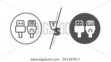 Usb, Rj45 Connection Wires. Versus Concept. Computer Cables Line Icon. Line Vs Classic Computer Cabl