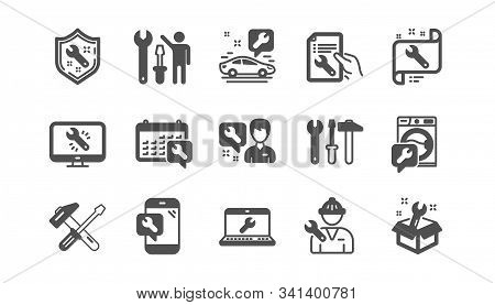 Repair Icons. Hammer, Screwdriver And Spanner Tool. Washing Machine Repair Classic Icon Set. Quality