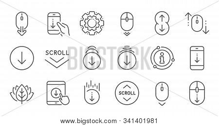 Scroll Down Line Icons. Scrolling Mouse, Landing Page Swipe Signs. Mobile Device Technology Icons. W