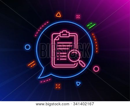 Search Analysis Line Icon. Neon Laser Lights. Find Document Sign. Magnify Glass. Glow Laser Speech B