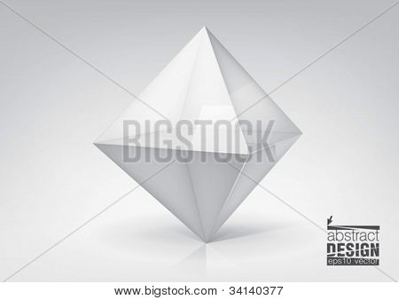 Vector transparent octahedron for your graphic design, you can change colors for the background