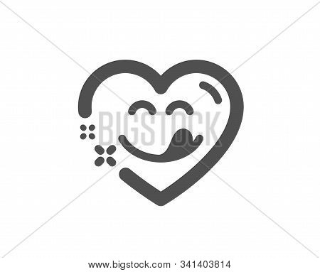 Emoticon With Tongue Sign. Yummy Smile Icon. Comic Heart Symbol. Classic Flat Style. Simple Yummy Sm
