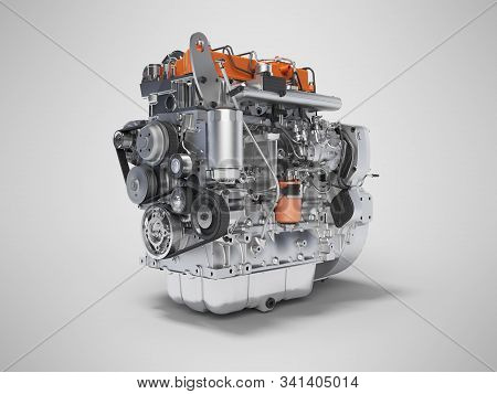 3d Rendering Motor For The Car Assembly On Gray Background With Shadow