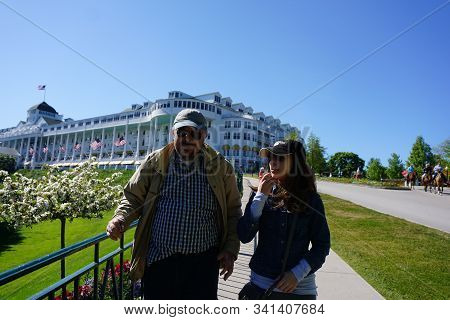 Mackinac Island, Michigan / United States - June 11, 2018: The Historic Grand Hotel Offers Luxury Ac
