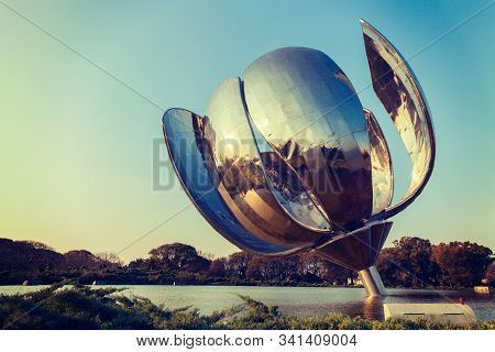 Buenos Aires June 2019. United Nations Square At Buenos Aires. Floralis Gen Rica Is A Sculpture Made
