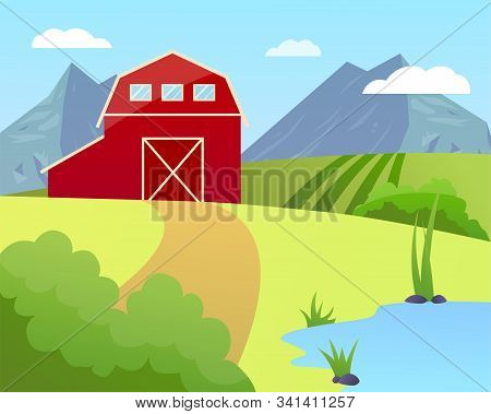 Vector Illustration Of A Farm With Green Field And Blue Lake, Garner And Trees