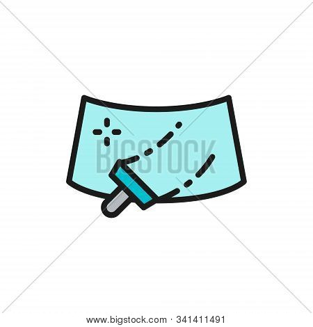 Washing Windshield Of A Car Flat Color Line Icon.