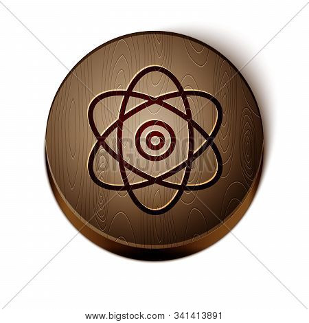 Brown Line Atom Icon Isolated On White Background. Symbol Of Science, Education, Nuclear Physics, Sc