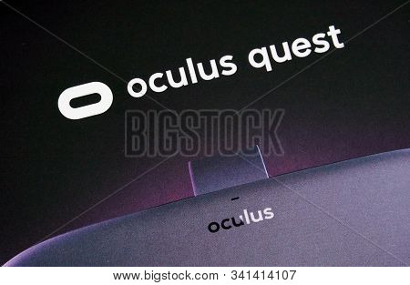 Montreal, Canada - December 23, 2019: Oculus Quest Vr Logo. The Oculus Quest Is A First All In Virtu