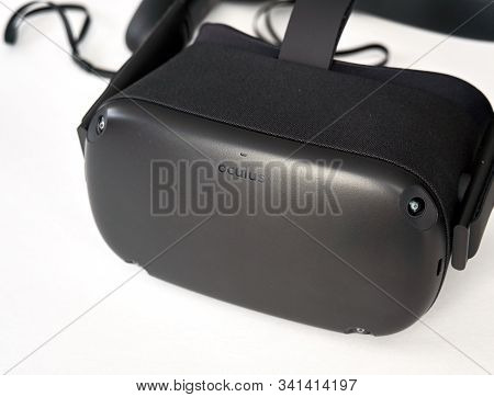Montreal, Canada - December 23, 2019: Oculus Quest Vr Virtual Reality Headset Over White Background.
