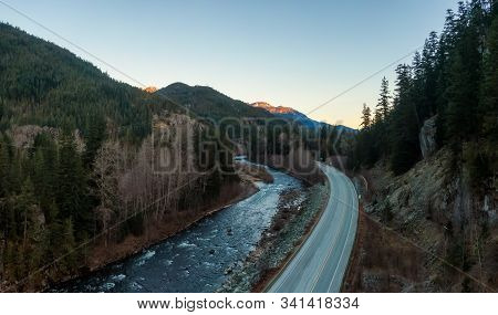 Aerial Panoramic View Of The Famous Scenic Drive, Sea To Sky Highway, During A Colorful Sunrise. Loc