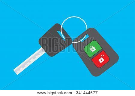 Cartoon Car Key Isolated On Blue Background