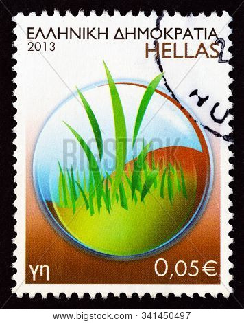 Greece - Circa 2013: A Stamp Printed In Greece From The