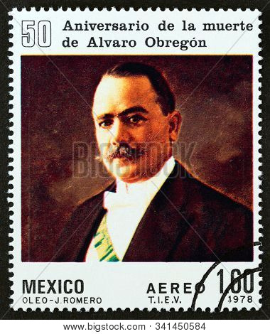 Mexico - Circa 1978: A Stamp Printed In Mexico Issued For The 50th Anniversary Of Death Of Alvaro Ob