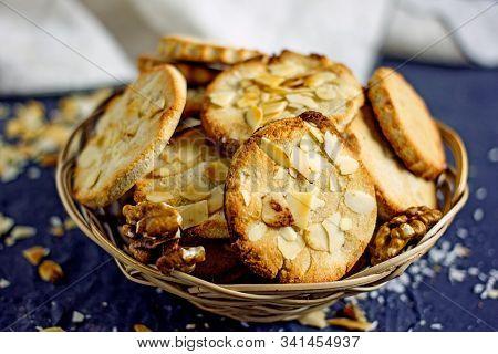 Homemade Walnut Cookies. Delicious Round Sugar-free Nutmeg Cookies. Gluten Free Vegan Baking Concept