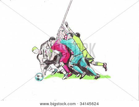 Football (soccer) players, vector illustration